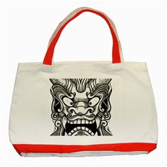 Japanese Onigawara Mask Devil Ghost Face Classic Tote Bag (red) by Alisyart