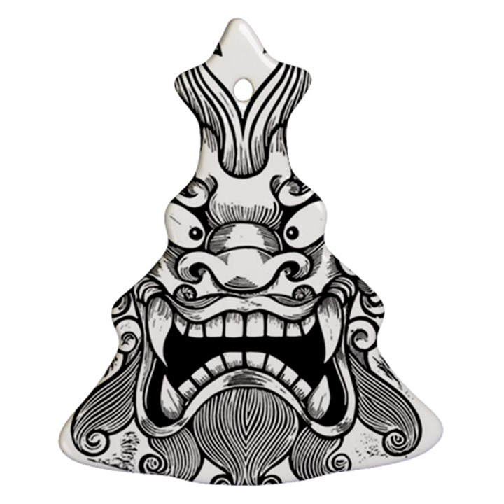 Japanese Onigawara Mask Devil Ghost Face Ornament (Christmas Tree)