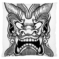 Japanese Onigawara Mask Devil Ghost Face Large Cushion Case (one Side) by Alisyart