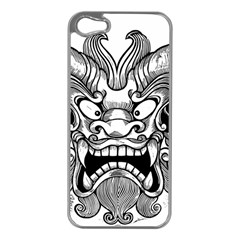 Japanese Onigawara Mask Devil Ghost Face Apple Iphone 5 Case (silver) by Alisyart