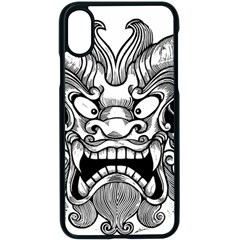 Japanese Onigawara Mask Devil Ghost Face Apple Iphone X Seamless Case (black) by Alisyart