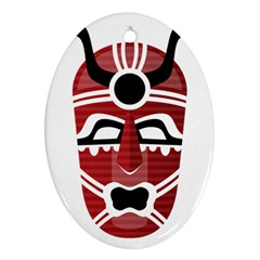 Africa Mask Face Hunter Jungle Devil Ornament (oval) by Alisyart