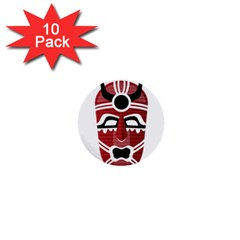 Africa Mask Face Hunter Jungle Devil 1  Mini Buttons (10 Pack)  by Alisyart