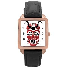 Africa Mask Face Hunter Jungle Devil Rose Gold Leather Watch