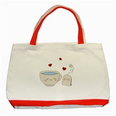 Cute Tea Classic Tote Bag (red) by Valentinaart