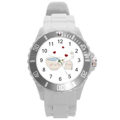 Cute Tea Round Plastic Sport Watch (l) by Valentinaart