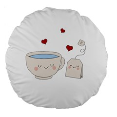 Cute Tea Large 18  Premium Flano Round Cushions by Valentinaart