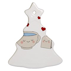 Cute Tea Christmas Tree Ornament (two Sides) by Valentinaart