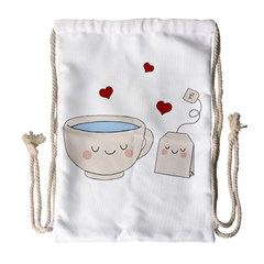 Cute Tea Drawstring Bag (large) by Valentinaart