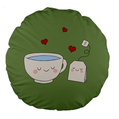 Cute Tea Large 18  Premium Round Cushions by Valentinaart