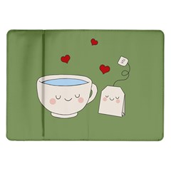 Cute Tea Samsung Galaxy Tab 10 1  P7500 Flip Case by Valentinaart