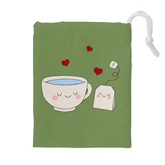 Cute Tea Drawstring Pouches (extra Large)