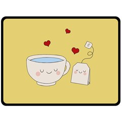 Cute Tea Double Sided Fleece Blanket (large)  by Valentinaart