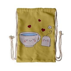 Cute Tea Drawstring Bag (small) by Valentinaart