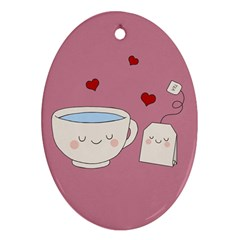Cute Tea Oval Ornament (two Sides) by Valentinaart