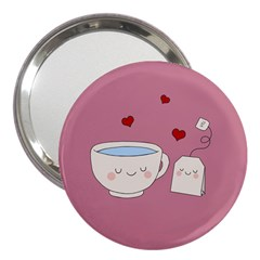 Cute Tea 3  Handbag Mirrors by Valentinaart