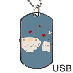 Cute Tea Dog Tag Usb Flash (two Sides) by Valentinaart