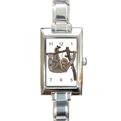 Cute Sloth Rectangle Italian Charm Watch by Valentinaart