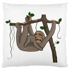 Cute Sloth Large Flano Cushion Case (one Side) by Valentinaart
