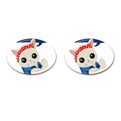 Feminist Cat Cufflinks (oval) by Valentinaart