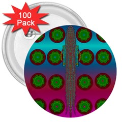 Meditative Abstract Temple Of Love And Meditation 3  Buttons (100 Pack)