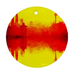 Sun Rise,city,modern Art Round Ornament (two Sides) by 8fugoso