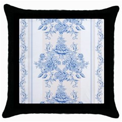 Beautiful,pale Blue,floral,shabby Chic,pattern Throw Pillow Case (black) by 8fugoso
