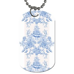 Beautiful,pale Blue,floral,shabby Chic,pattern Dog Tag (two Sides) by 8fugoso