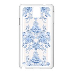 Beautiful,pale Blue,floral,shabby Chic,pattern Samsung Galaxy Note 3 N9005 Case (white) by 8fugoso