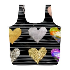 Modern Heart Pattern Full Print Recycle Bags (l)  by 8fugoso
