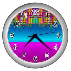 Sky Earth And Star Fall Wall Clocks (silver)  by pepitasart