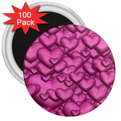 Shimmering Hearts Pink 3  Magnets (100 Pack)