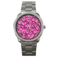Shimmering Hearts Pink Sport Metal Watch by MoreColorsinLife