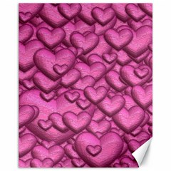 Shimmering Hearts Pink Canvas 11  X 14   by MoreColorsinLife
