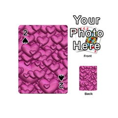 Shimmering Hearts Pink Playing Cards 54 (mini)  by MoreColorsinLife