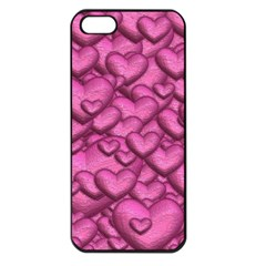 Shimmering Hearts Pink Apple Iphone 5 Seamless Case (black) by MoreColorsinLife