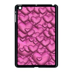 Shimmering Hearts Pink Apple Ipad Mini Case (black)