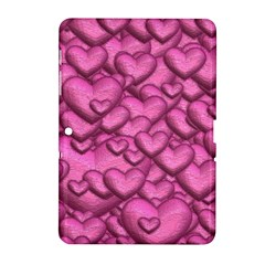 Shimmering Hearts Pink Samsung Galaxy Tab 2 (10 1 ) P5100 Hardshell Case  by MoreColorsinLife