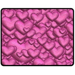 Shimmering Hearts Pink Double Sided Fleece Blanket (medium)  by MoreColorsinLife