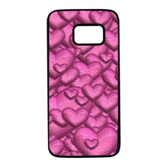Shimmering Hearts Pink Samsung Galaxy S7 Black Seamless Case by MoreColorsinLife