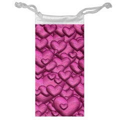 Shimmering Hearts Pink Jewelry Bag by MoreColorsinLife
