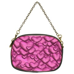 Shimmering Hearts Pink Chain Purses (two Sides)