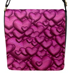 Shimmering Hearts Pink Flap Messenger Bag (s) by MoreColorsinLife