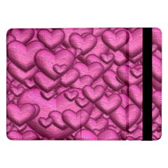 Shimmering Hearts Pink Samsung Galaxy Tab Pro 12 2  Flip Case by MoreColorsinLife