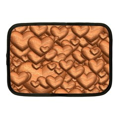 Shimmering Hearts Peach Netbook Case (medium)  by MoreColorsinLife