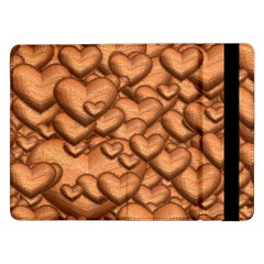 Shimmering Hearts Peach Samsung Galaxy Tab Pro 12 2  Flip Case by MoreColorsinLife