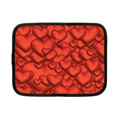 Shimmering Hearts Deep Red Netbook Case (small)  by MoreColorsinLife