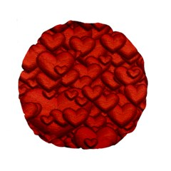 Shimmering Hearts Deep Red Standard 15  Premium Round Cushions by MoreColorsinLife