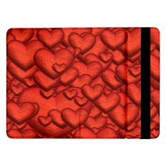 Shimmering Hearts Deep Red Samsung Galaxy Tab Pro 12 2  Flip Case by MoreColorsinLife