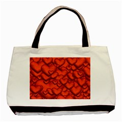 Shimmering Hearts Deep Red Basic Tote Bag (two Sides) by MoreColorsinLife